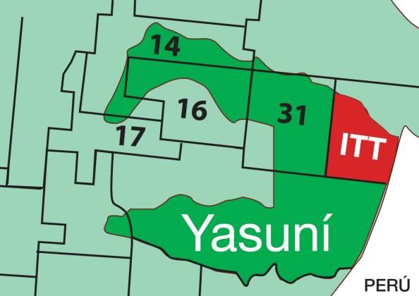 Gráfica de los bloques petroleros en el Parque Nacional Yasuní