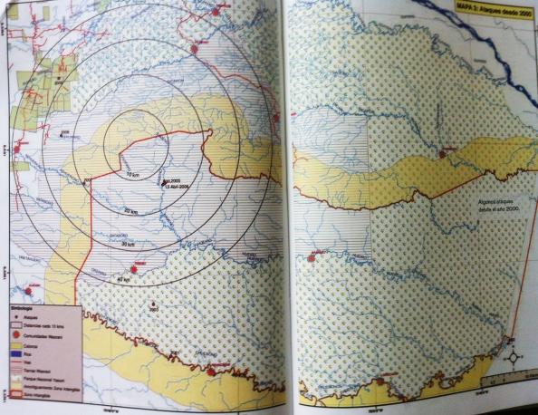 """Mapa de ataques relacionados a los taromenani desde 2000. Puede mostrarse mayor concentración en zonas más pobladas.  Fuente: """"La nación waorani"""" de Miguel Angel Cabodevilla"""