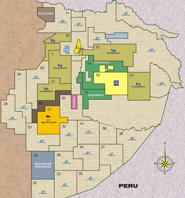 Campos petroleros en Ecuador. Algunas licitaciones de la gráfica no están actualizadas