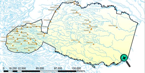 Mapa de comunidades huaorani, parientes del clan taromenani. Se resaltan los dos grandes ríos como sus fronteras históricas naturales