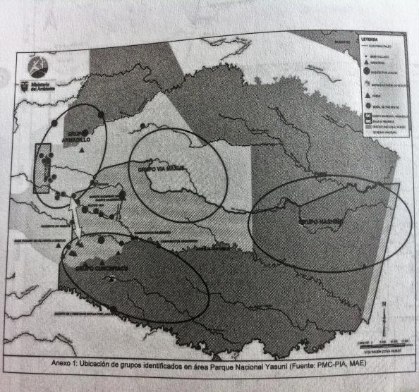 Informes del PMC en 2009 muestran mapas que señalan la zona del ITT como territorio de pueblos ocultos