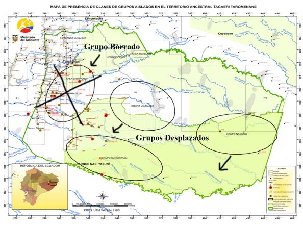 Mapa del MAE que ilustra los grupos desapatrecidos y desplazados por el Ministerio de Justicia.