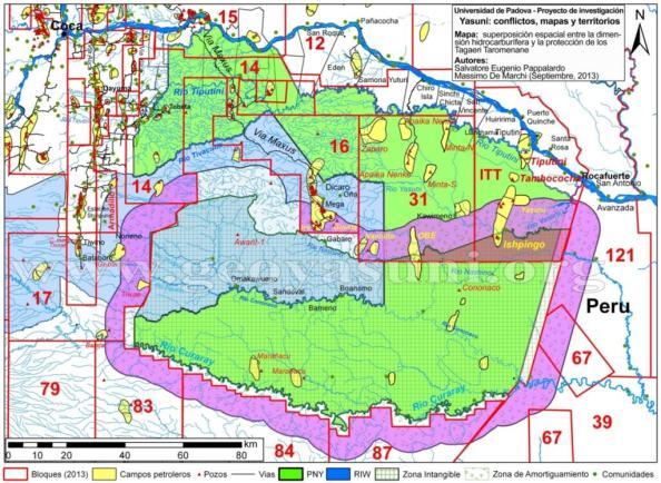 Superposición de Bloques Petroleros y Zona Intangible en el Yasuní. Fuente: @geoyasuni