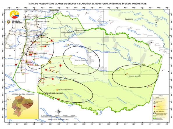 Mapa del MAE, 2013. En círculo, presencias de pueblos ocultos y su área de influencia. Puntos rojos y amarillos son evidencia de presencia.