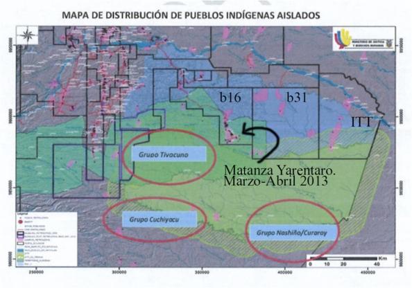 Nuevo Mapa ignora presencia Taromenani en b16 a pesar de que hace 5 meses ocurrió una matanza.